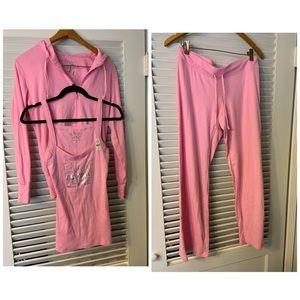 XS Victoria Secret 3 pc pink tank top pant